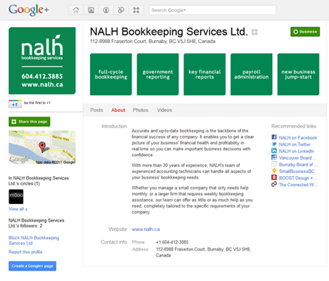 Google+ Brand Page for NALH Bookkeeping Services in Burnaby, BC