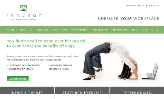 Web Site Design & Development Portfolio - Innergy Corporate Yoga - Vancouver / Kamloops, BC