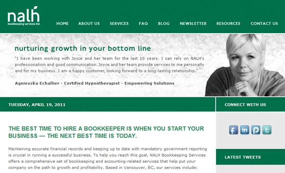 Web Site Design & Development Portfolio - NALH Bookkeeping Services - Burnaby, BC