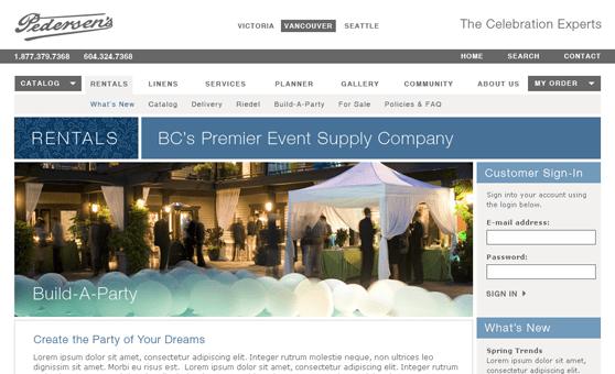 Web Site Design & Development Portfolio - Pedersen's Rentals, Burnaby, BC