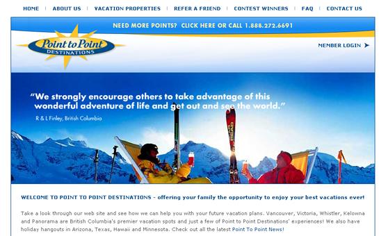 Web Site Design & Development Portfolio - Point to Point Destinations - Vancouver, BC