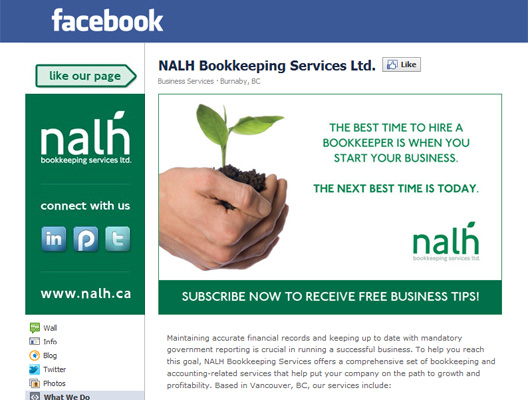 NALH Bookkeeping Services Custom Facebook Fan Page Design, Vancouver, BC