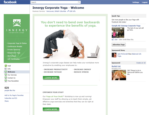 Custom Facebook page design for Innergy Corporate Yoga in Vancouver, BC